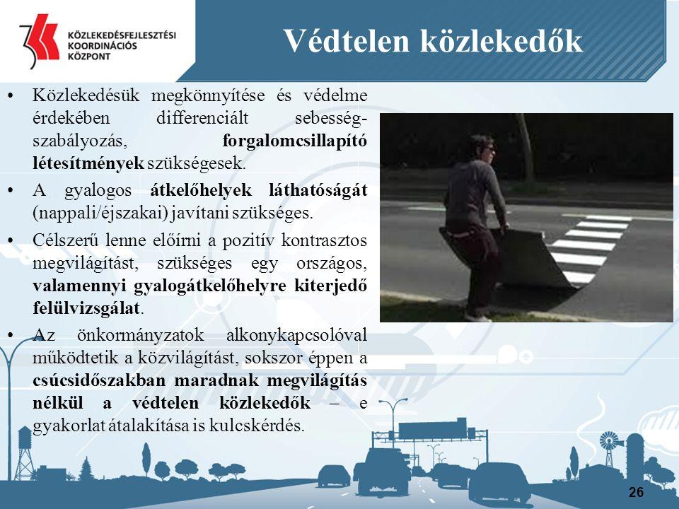 Védtelen közlekedők Közlekedésük megkönnyítése és védelme érdekében differenciált sebesség- szabályozás, forgalomcsillapító létesítmények szükségesek.