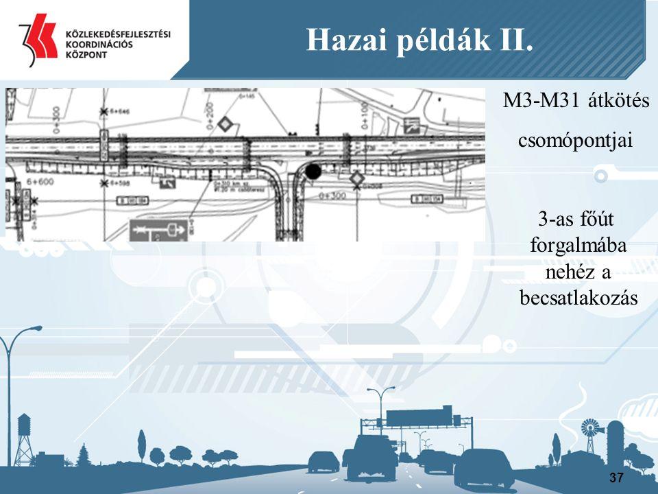 M3-M31 átkötés csomópontjai 3-as főút forgalmába nehéz a becsatlakozás 37 Hazai példák II.