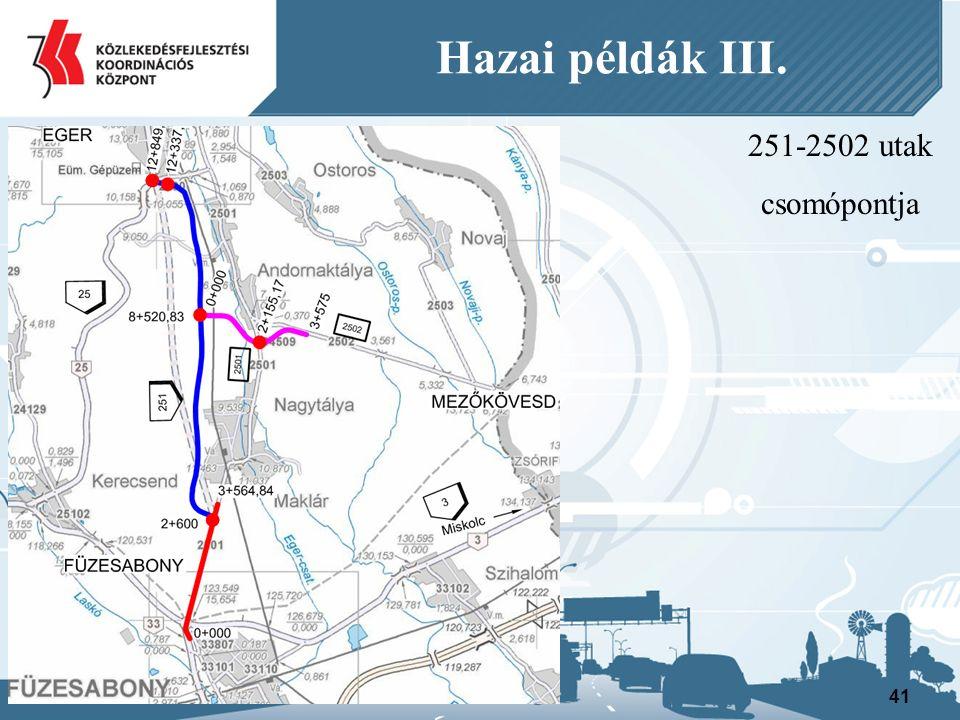 251-2502 utak csomópontja 41 Hazai példák III.