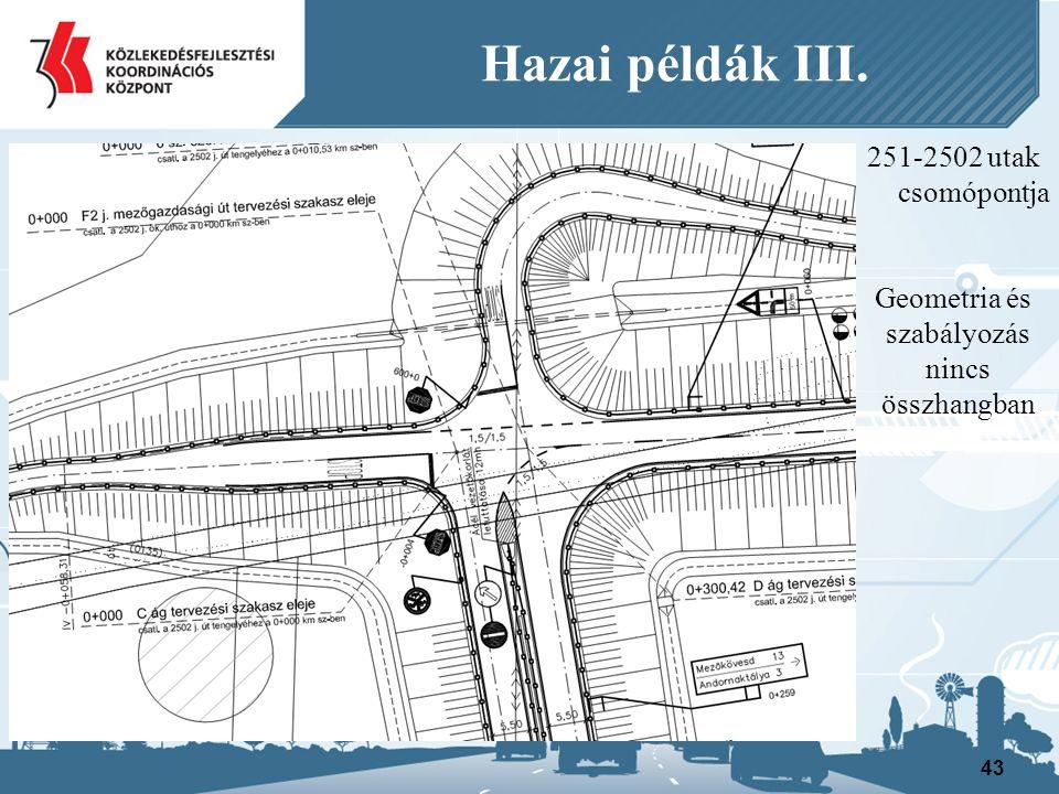 251-2502 utak csomópontja Geometria és szabályozás nincs összhangban 43 Hazai példák III.