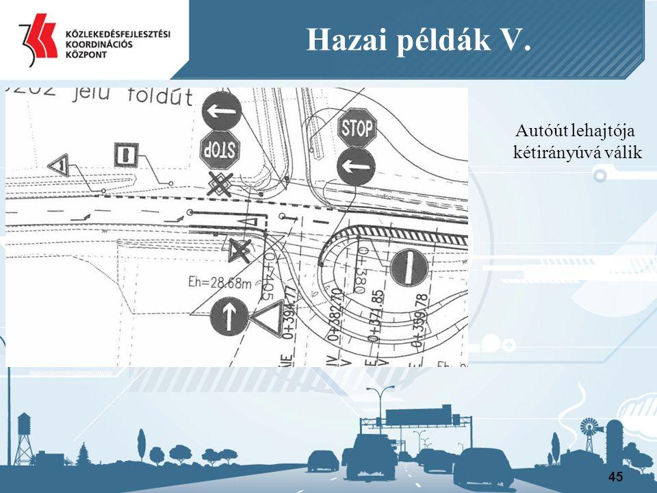 Autóút lehajtója kétirányúvá válik 45 Hazai példák V.
