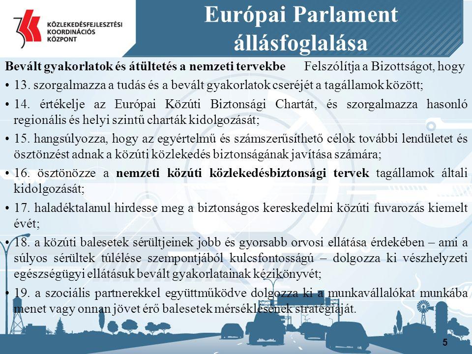 Európai Parlament állásfoglalása Cselekvési területek: a közlekedők képzésének és magatartásának javítása; a közúti közlekedési előírások harmonizációja és végrehajtása; biztonságosabb közúti közlekedési infrastruktúra létrehozása; biztonságosabb járművek forgalomba állítása; a közúti közlekedés sérülékenyebb résztvevőinek védelme; modern technológiák használata a gépjárművekben, az infrastruktúrában és a sürgősségi szolgálatoknál.
