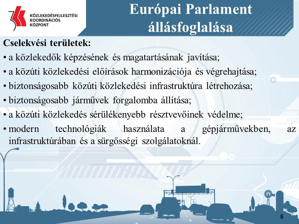 Európai Parlament állásfoglalása Cselekvési területek: a közlekedők képzésének és magatartásának javítása –27.-38 –39.