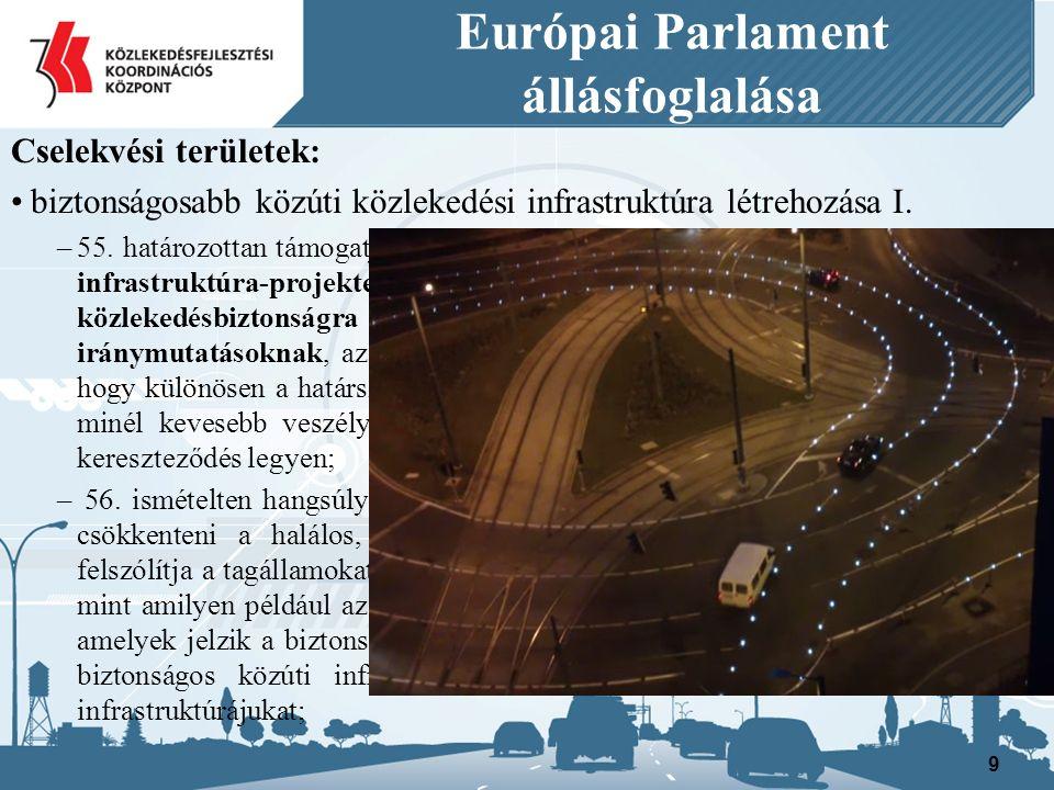 Európai Parlament állásfoglalása Cselekvési területek: biztonságosabb közúti közlekedési infrastruktúra létrehozása I.