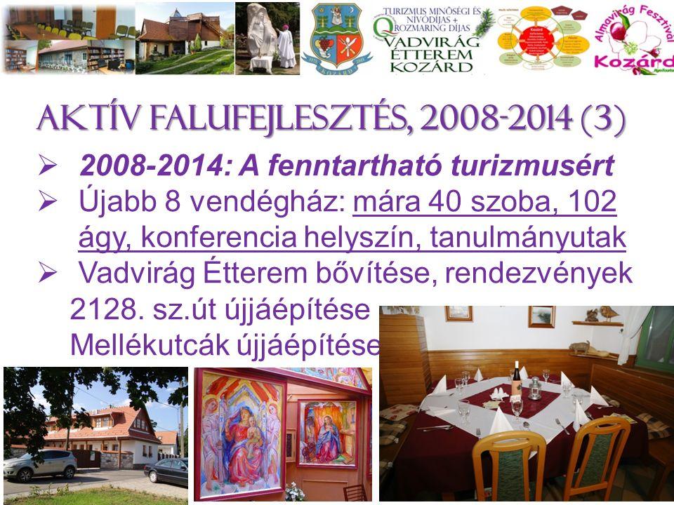 Aktív falufejlesztés, 2008-2014 (3)  2008-2014: A fenntartható turizmusért  Újabb 8 vendégház: mára 40 szoba, 102 ágy, konferencia helyszín, tanulmányutak  Vadvirág Étterem bővítése, rendezvények 2128.