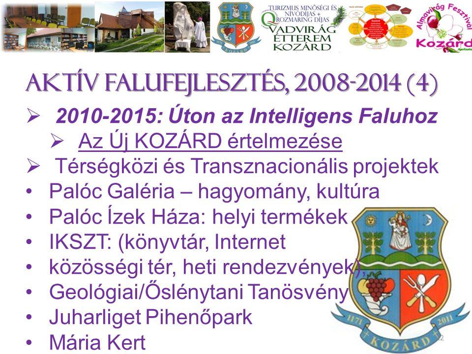 Aktív falufejlesztés, 2008-2014 (4)  2010-2015: Úton az Intelligens Faluhoz  Az Új KOZÁRD értelmezése  Térségközi és Transznacionális projektek Pal