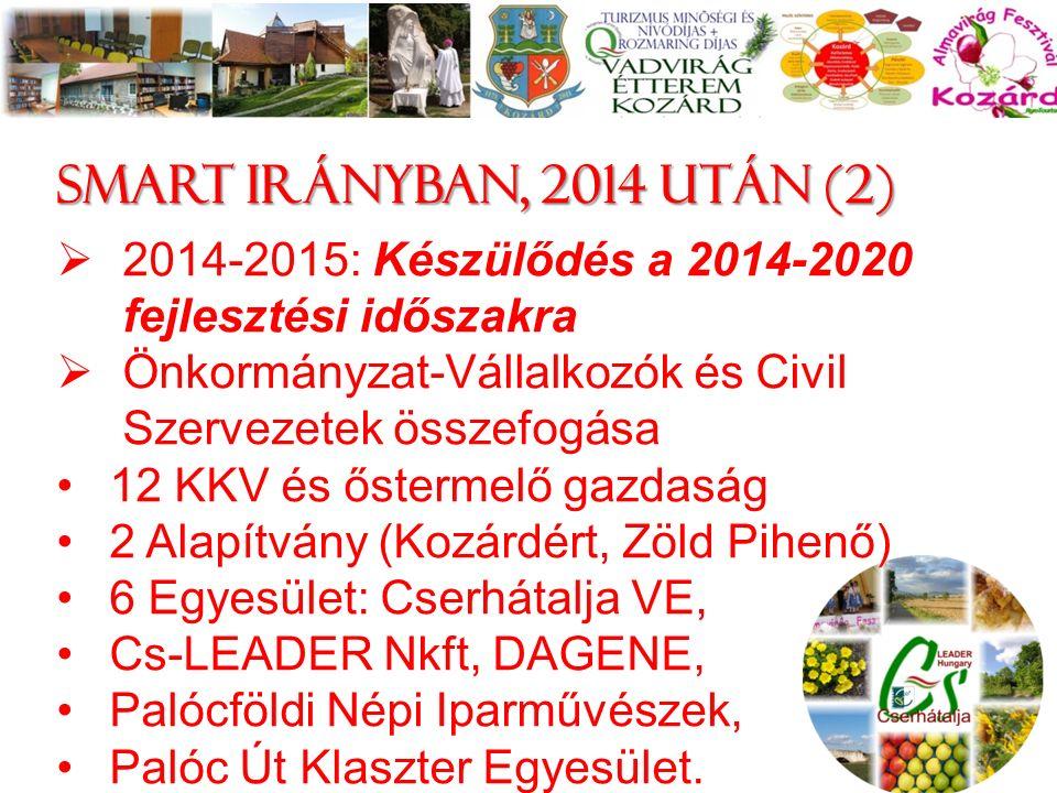 Smart irányban, 2014 után (2)  2014-2015: Készülődés a 2014-2020 fejlesztési időszakra  Önkormányzat-Vállalkozók és Civil Szervezetek összefogása 12 KKV és őstermelő gazdaság 2 Alapítvány (Kozárdért, Zöld Pihenő) 6 Egyesület: Cserhátalja VE, Cs-LEADER Nkft, DAGENE, Palócföldi Népi Iparművészek, Palóc Út Klaszter Egyesület.