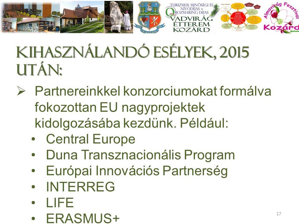 Kihasználandó esélyek, 2015 után:  Partnereinkkel konzorciumokat formálva fokozottan EU nagyprojektek kidolgozásába kezdünk. Például: Central Europe