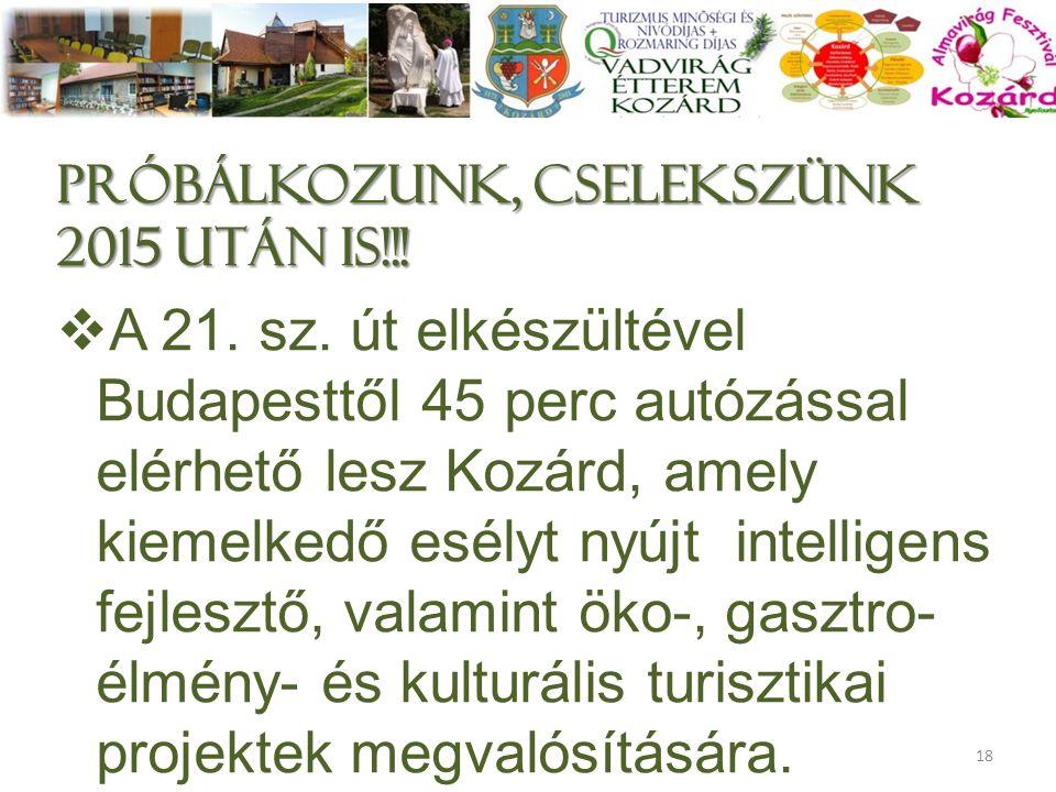 próbálkozunk, cselekszünk 2015 után is!!!  A 21. sz. út elkészültével Budapesttől 45 perc autózással elérhető lesz Kozárd, amely kiemelkedő esélyt ny