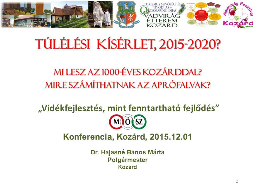 """Túlélési kísérlet, 2015-2020? Mi lesz az 1000-éves Kozárddal? Mire számíthatnak az aprófalvak? """"Vidékfejlesztés, mint fenntartható fejlődés"""" Konferenc"""