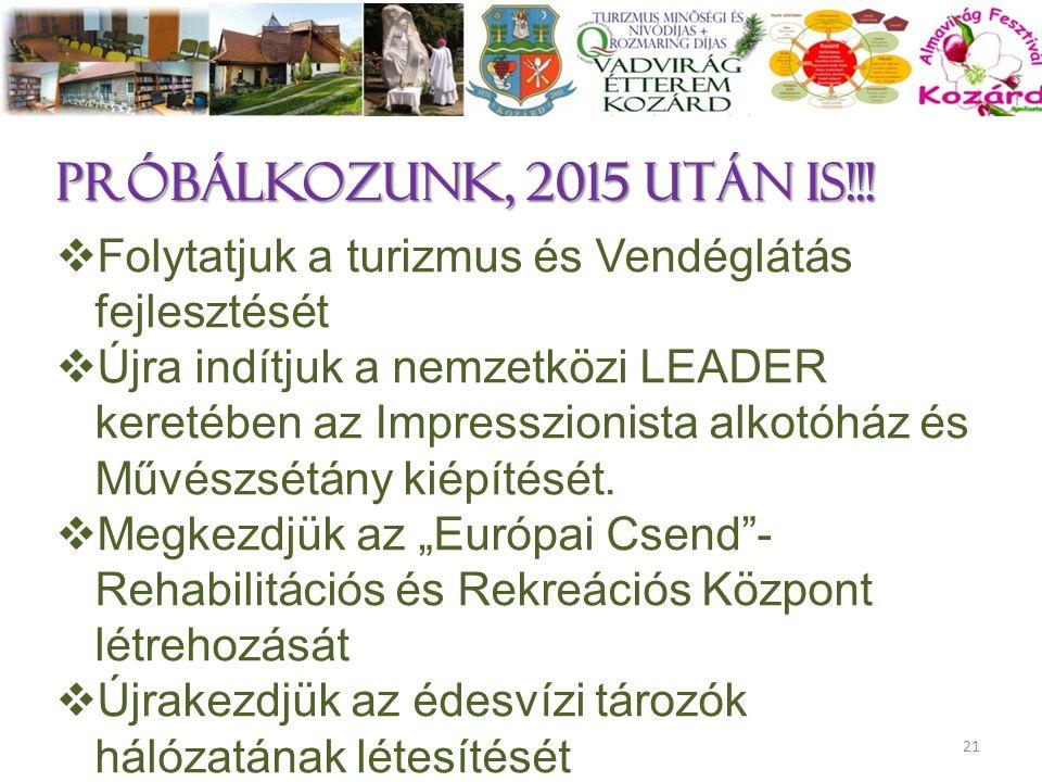 próbálkozunk, 2015 után is!!!  Folytatjuk a turizmus és Vendéglátás fejlesztését  Újra indítjuk a nemzetközi LEADER keretében az Impresszionista alk