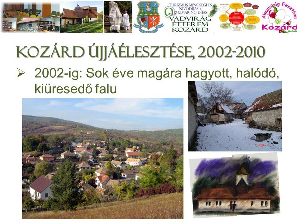 KOZÁRD ÚjjáélesztésE, 2002-2010  2002-ig: Sok éve magára hagyott, halódó, kiüresedő falu 3