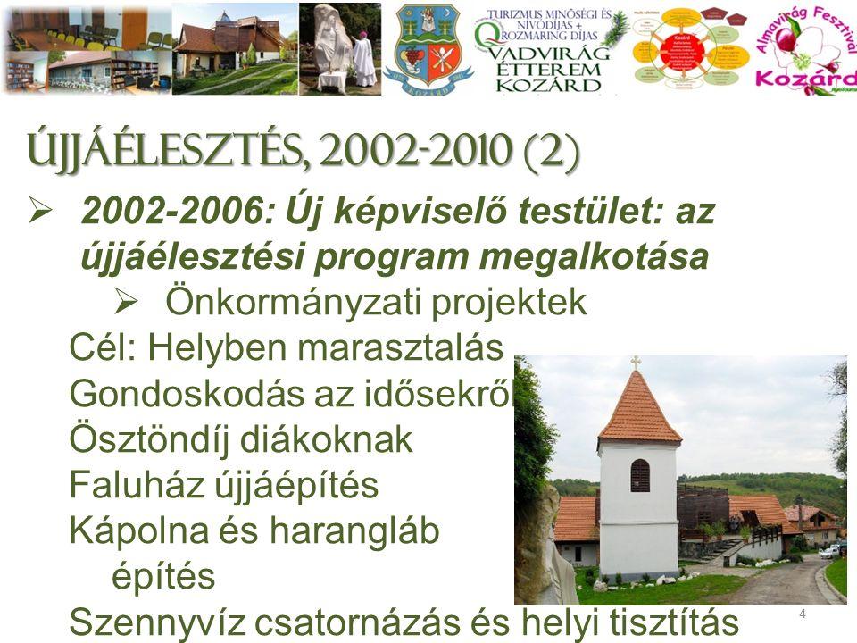 Újjáélesztés, 2002-2010 (2)  2002-2006: Új képviselő testület: az újjáélesztési program megalkotása  Önkormányzati projektek Cél: Helyben marasztalás Gondoskodás az idősekről Ösztöndíj diákoknak Faluház újjáépítés Kápolna és harangláb építés Szennyvíz csatornázás és helyi tisztítás 4