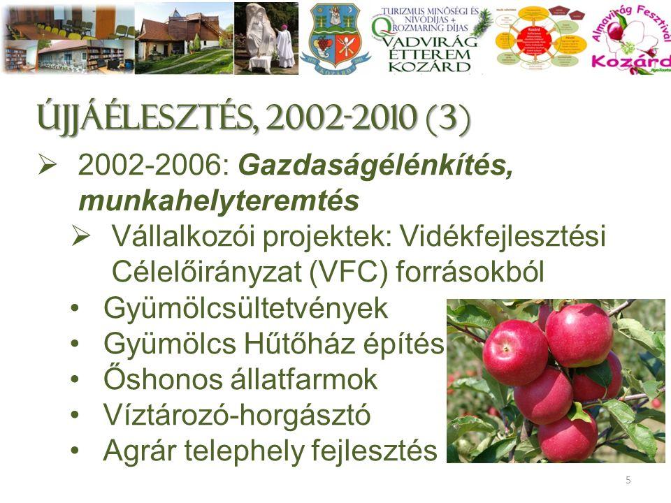Újjáélesztés, 2002-2010 (3)  2002-2006: Gazdaságélénkítés, munkahelyteremtés  Vállalkozói projektek: Vidékfejlesztési Célelőirányzat (VFC) forrásokból Gyümölcsültetvények Gyümölcs Hűtőház építés Őshonos állatfarmok Víztározó-horgásztó Agrár telephely fejlesztés 5
