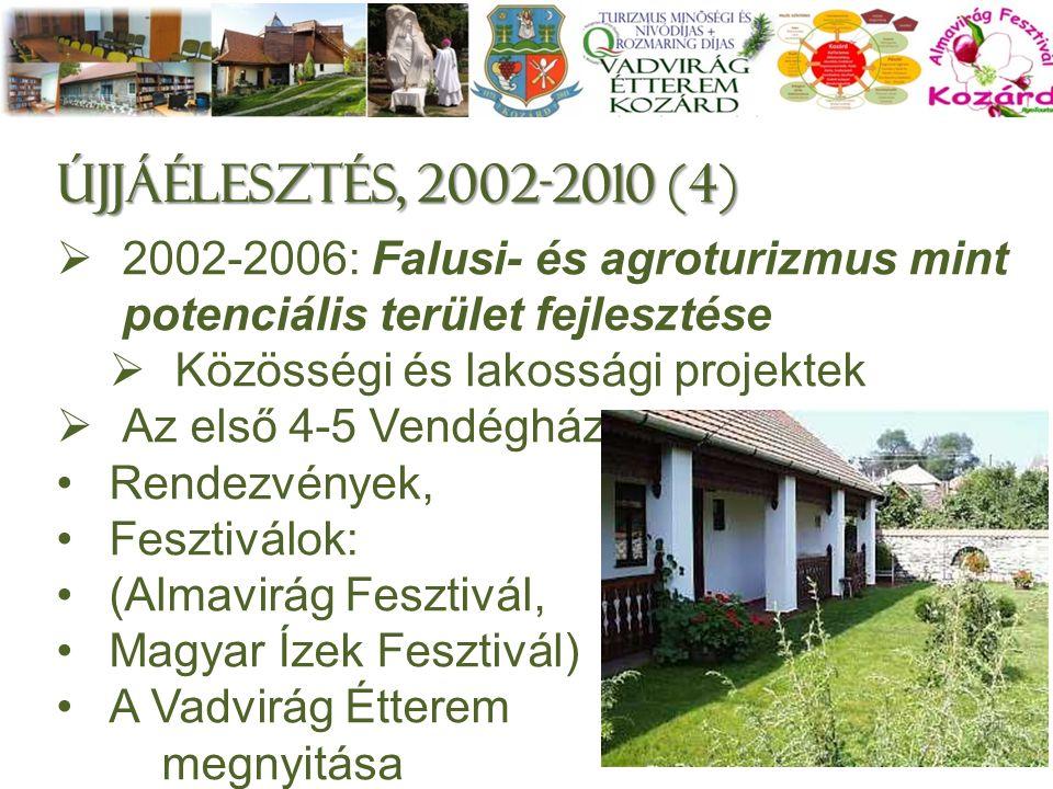 Újjáélesztés, 2002-2010 (4)  2002-2006: Falusi- és agroturizmus mint potenciális terület fejlesztése  Közösségi és lakossági projektek  Az első 4-5 Vendégház Rendezvények, Fesztiválok: (Almavirág Fesztivál, Magyar Ízek Fesztivál) A Vadvirág Étterem megnyitása 6