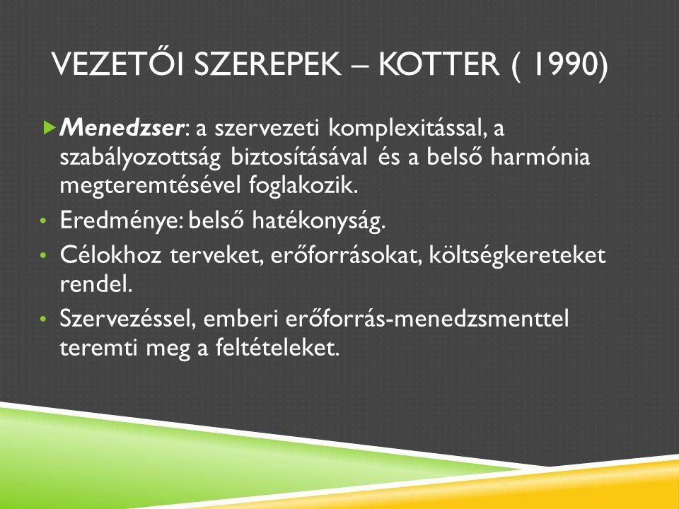 VEZETŐI SZEREPEK – KOTTER ( 1990)  Menedzser: a szervezeti komplexitással, a szabályozottság biztosításával és a belső harmónia megteremtésével foglakozik.
