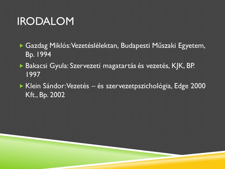 IRODALOM  Gazdag Miklós: Vezetéslélektan, Budapesti Műszaki Egyetem, Bp.