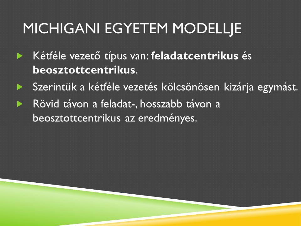 MICHIGANI EGYETEM MODELLJE  Kétféle vezető típus van: feladatcentrikus és beosztottcentrikus.