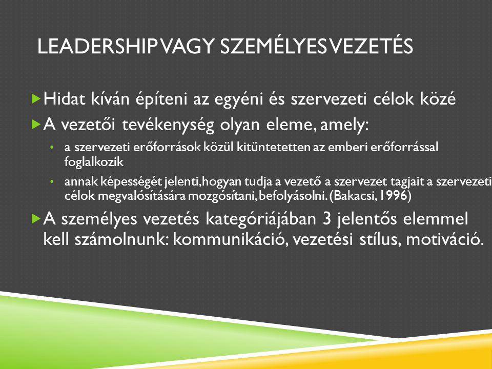 LEADERSHIP VAGY SZEMÉLYES VEZETÉS  Hidat kíván építeni az egyéni és szervezeti célok közé  A vezetői tevékenység olyan eleme, amely: a szervezeti erőforrások közül kitüntetetten az emberi erőforrással foglalkozik annak képességét jelenti,hogyan tudja a vezető a szervezet tagjait a szervezeti célok megvalósítására mozgósítani, befolyásolni.