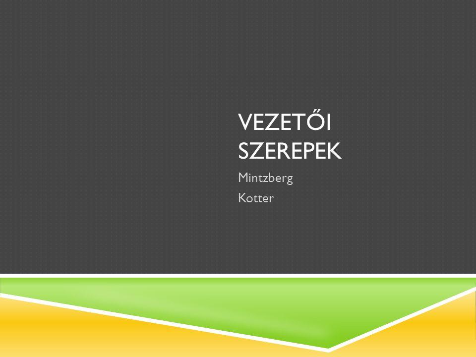 VEZETŐI SZEREPEK ( MINTZBERG 1973,1990)  Interperszonális szerepek: 1.