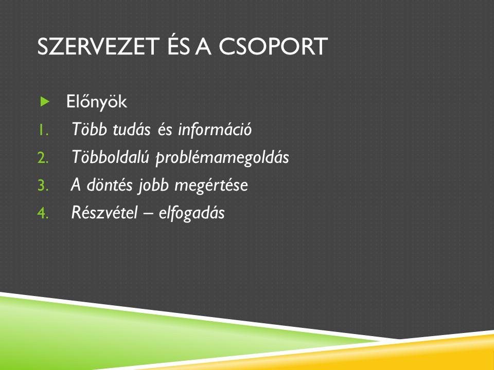 SZERVEZET ÉS A CSOPORT  Előnyök 1. Több tudás és információ 2.