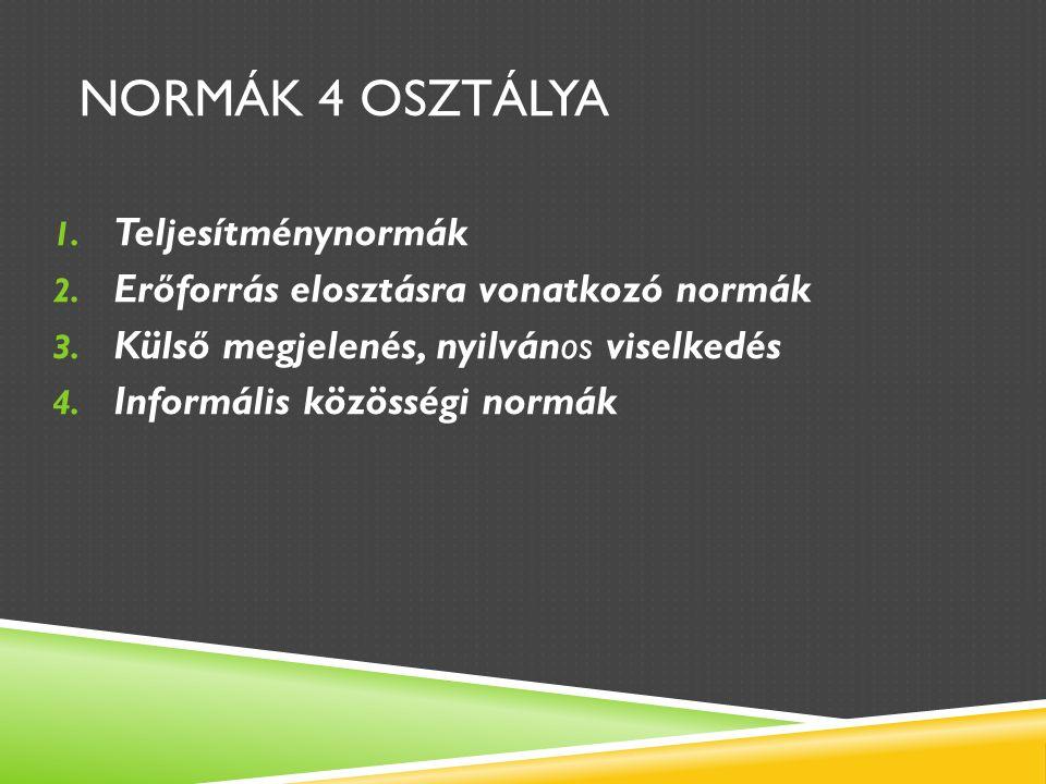 NORMÁK 4 OSZTÁLYA 1. Teljesítménynormák 2. Erőforrás elosztásra vonatkozó normák 3.