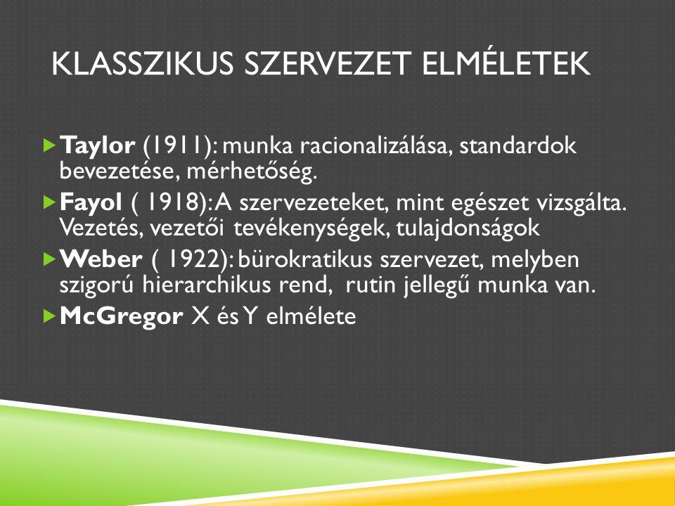 KLASSZIKUS SZERVEZET ELMÉLETEK  Taylor (1911): munka racionalizálása, standardok bevezetése, mérhetőség.