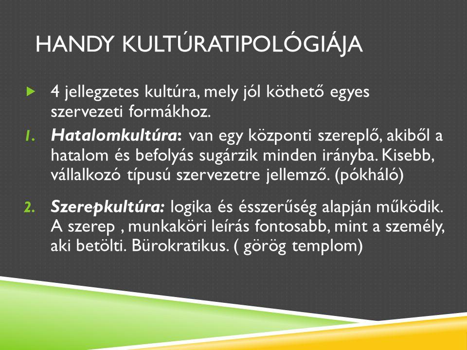 HANDY KULTÚRATIPOLÓGIÁJA  4 jellegzetes kultúra, mely jól köthető egyes szervezeti formákhoz.
