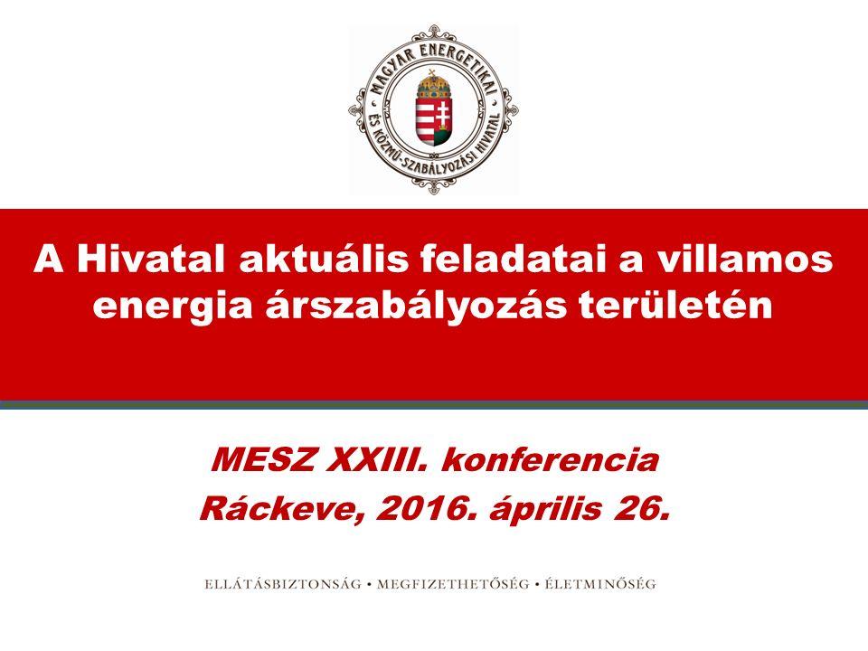 A Hivatal aktuális feladatai a villamos energia árszabályozás területén MESZ XXIII.