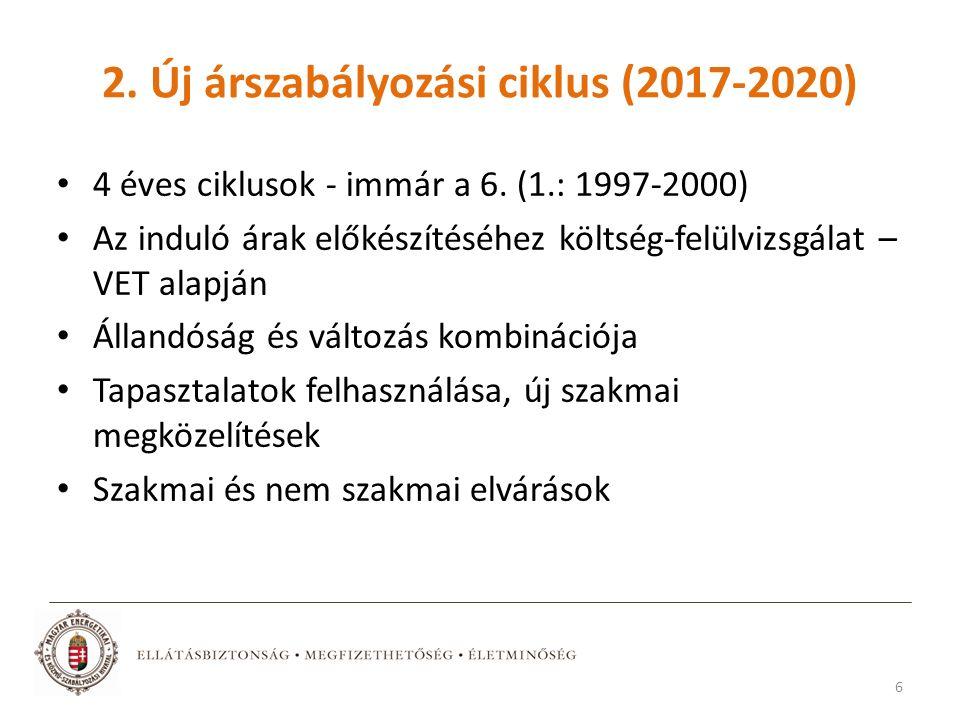 2. Új árszabályozási ciklus (2017-2020) 4 éves ciklusok - immár a 6.