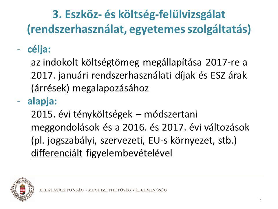 3. Eszköz- és költség-felülvizsgálat (rendszerhasználat, egyetemes szolgáltatás) -célja: az indokolt költségtömeg megállapítása 2017-re a 2017. január
