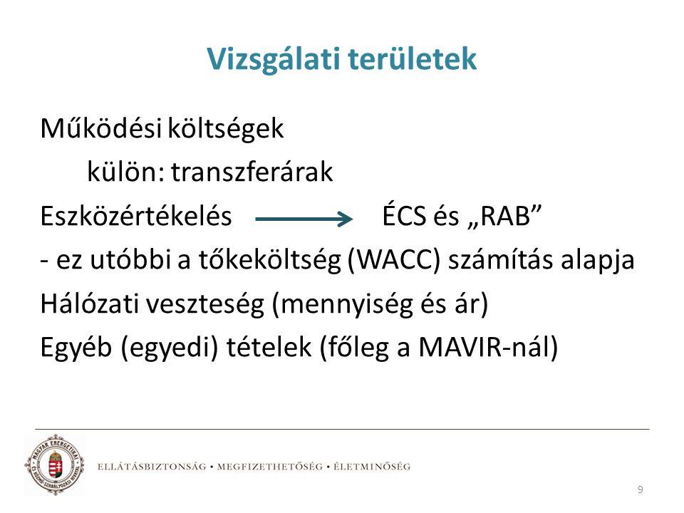 """Vizsgálati területek Működési költségek külön: transzferárak Eszközértékelés ÉCS és """"RAB - ez utóbbi a tőkeköltség (WACC) számítás alapja Hálózati veszteség (mennyiség és ár) Egyéb (egyedi) tételek (főleg a MAVIR-nál) 9"""