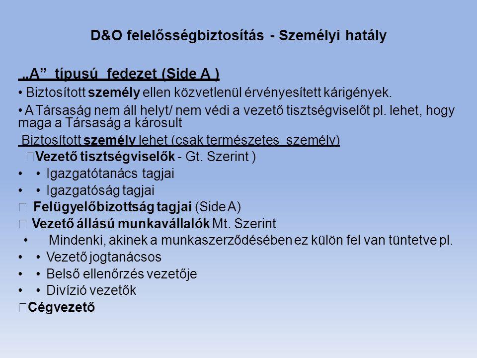 """D&O felelősségbiztosítás - Személyi hatály """"A típusú fedezet (Side A ) Biztosított személy ellen közvetlenül érvényesített kárigények."""