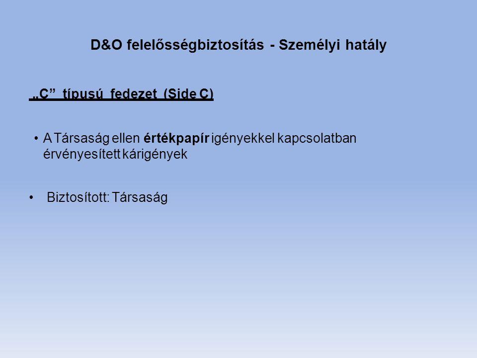 """D&O felelősségbiztosítás - Személyi hatály """"C típusú fedezet (Side C) A Társaság ellen értékpapír igényekkel kapcsolatban érvényesített kárigények Biztosított: Társaság"""
