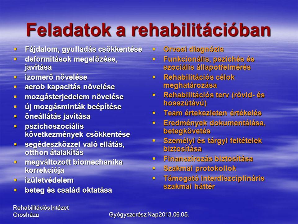 Rehabilitációs Intézet Orosháza Feladatok a rehabilitációban  Fájdalom, gyulladás csökkentése  deformitások megelőzése, javítása  izomerő növelése  aerob kapacitás növelése  mozgásterjedelem növelése  új mozgásminták beépítése  öneállátás javítása  pszichoszociális következmények csökkentése  segédeszközzel való ellátás, otthon átalakítás  megváltozott biomechanika korrekciója  ízületvédelem  beteg és család oktatása  Orvosi diagnózis  Funkcionális, pszichés és szociális állapotfelmérés  Rehabilitációs célok meghatározása  Rehabilitációs terv (rövid- és hosszútávú)  Team értekezleten értékelés  Eredmények dokumentálása, betegkövetés  Személyi és tárgyi feltételek biztosítása  Finanszírozás biztosítása  Szakmai protokollok  Támogató interdiszciplináris szakmai háttér Gyógyszerész Nap2013.06.05.