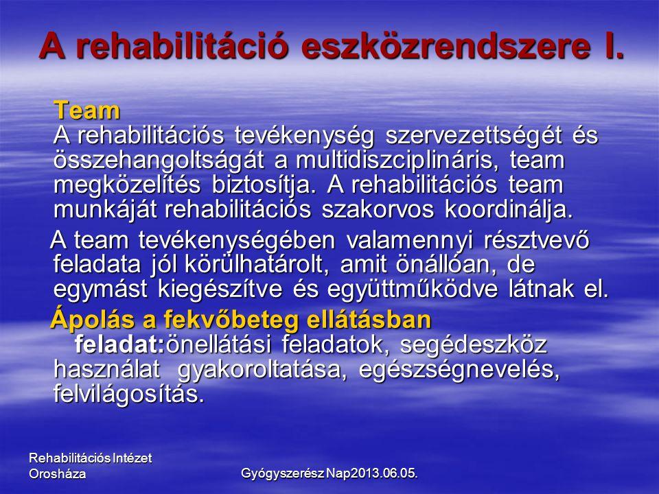 Rehabilitációs Intézet Orosháza A rehabilitáció eszközrendszere I. Team A rehabilitációs tevékenység szervezettségét és összehangoltságát a multidiszc
