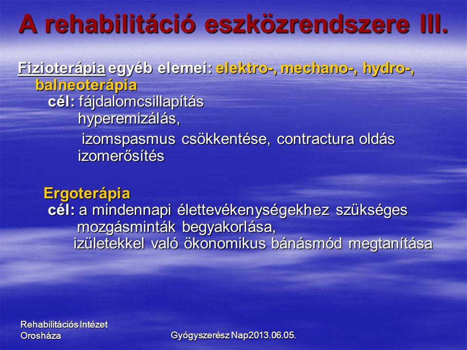 Rehabilitációs Intézet Orosháza A rehabilitáció eszközrendszere III. Fizioterápia egyéb elemei: elektro-, mechano-, hydro-, balneoterápia cél: fájdalo