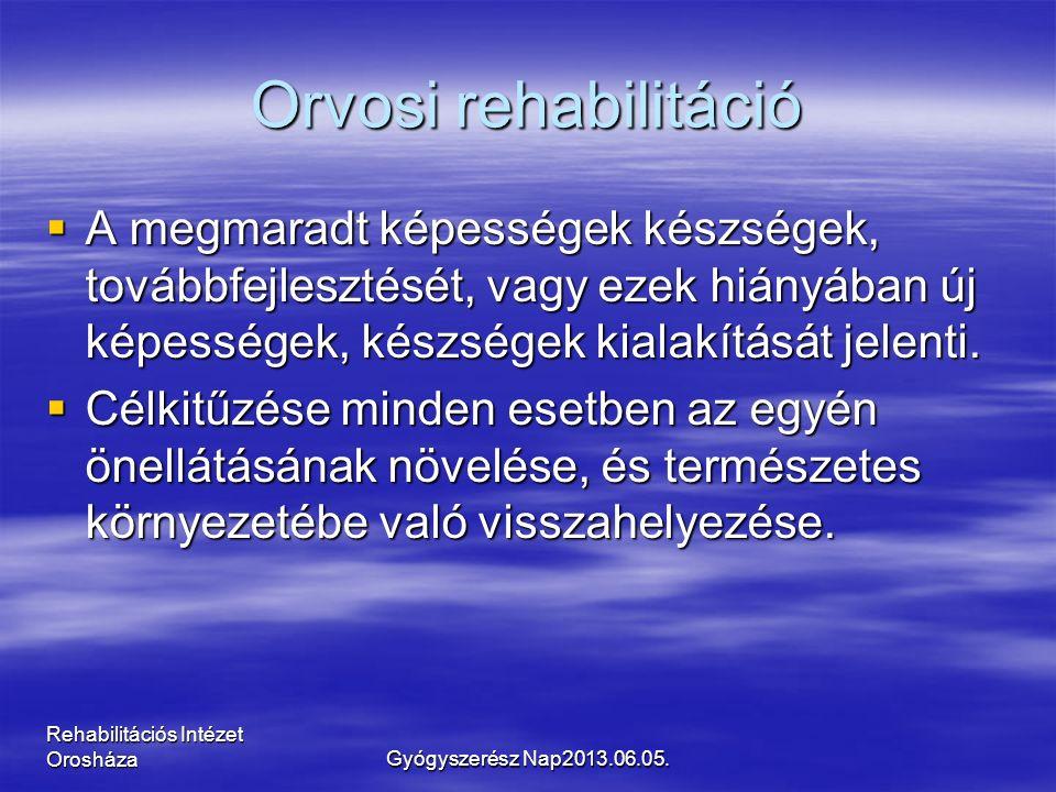 Rehabilitációs Intézet Orosháza Orvosi rehabilitáció  A megmaradt képességek készségek, továbbfejlesztését, vagy ezek hiányában új képességek, készségek kialakítását jelenti.