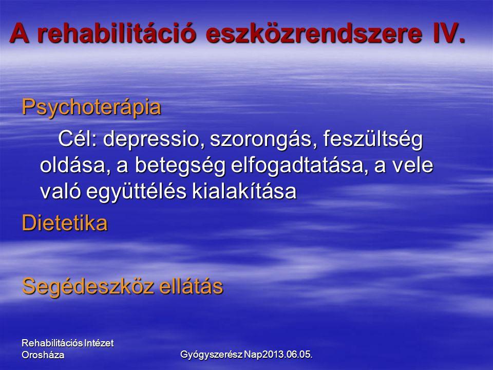 Rehabilitációs Intézet Orosháza A rehabilitáció eszközrendszere IV. Psychoterápia Cél: depressio, szorongás, feszültség oldása, a betegség elfogadtatá