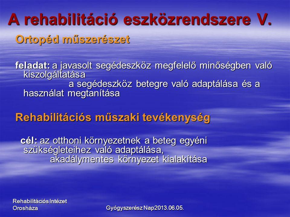 Rehabilitációs Intézet Orosháza A rehabilitáció eszközrendszere V. Ortopéd műszerészet Ortopéd műszerészet feladat: a javasolt segédeszköz megfelelő m