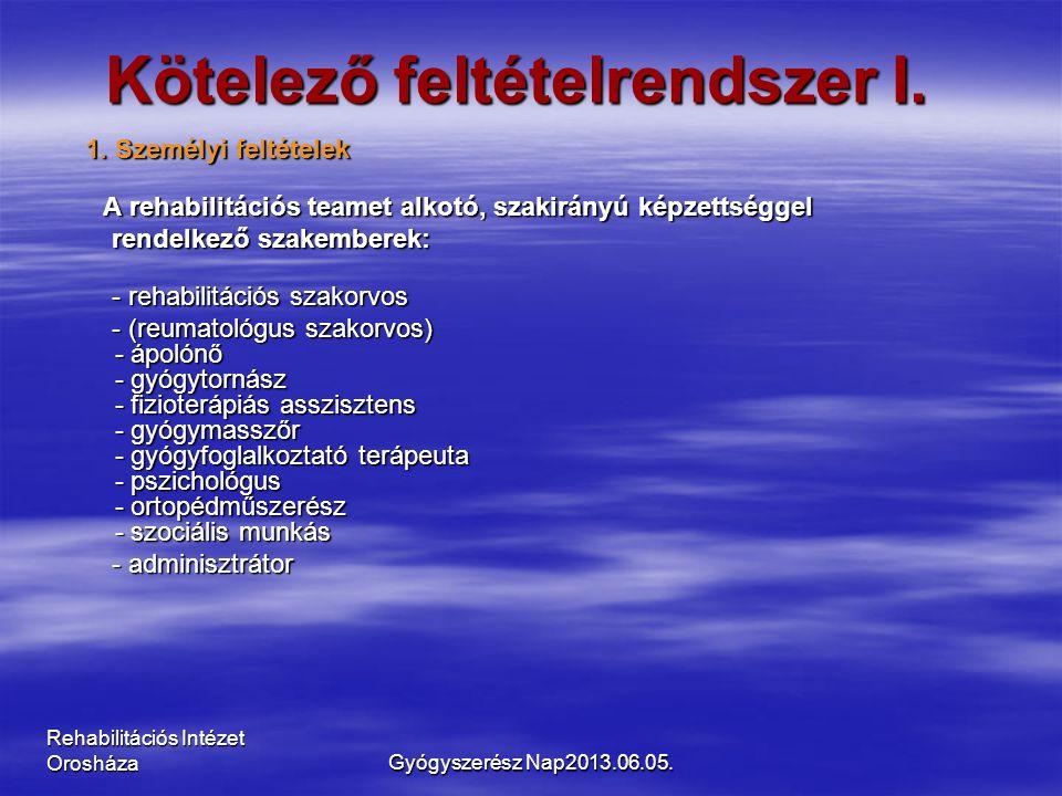 Rehabilitációs Intézet Orosháza Kötelező feltételrendszer I. 1. Személyi feltételek A rehabilitációs teamet alkotó, szakirányú képzettséggel A rehabil
