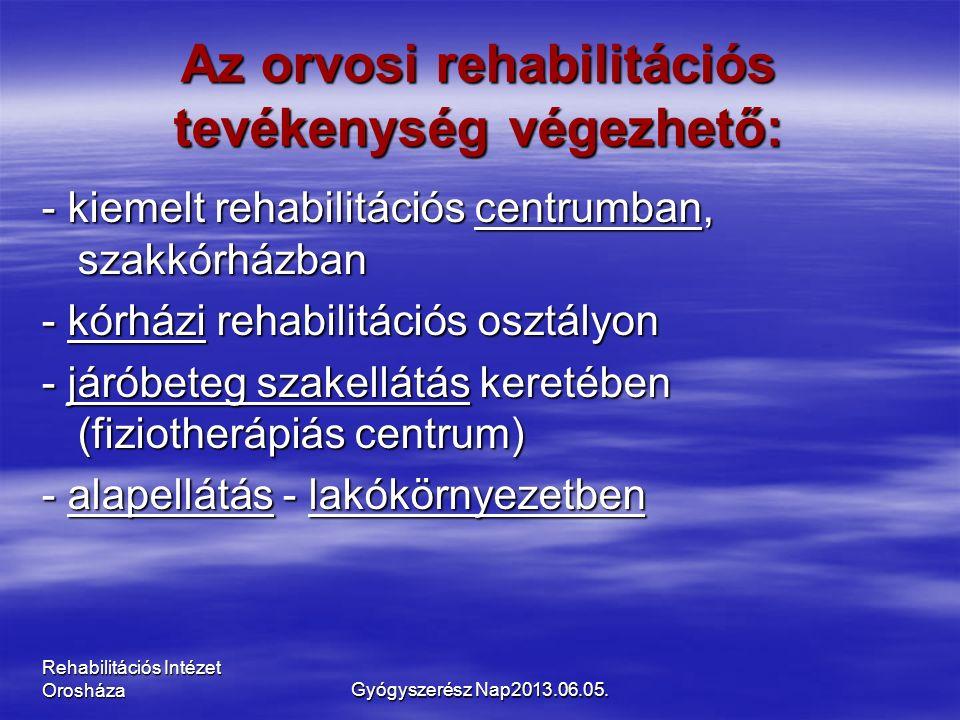Rehabilitációs Intézet Orosháza Az orvosi rehabilitációs tevékenység végezhető: - kiemelt rehabilitációs centrumban, szakkórházban - kórházi rehabilitációs osztályon - járóbeteg szakellátás keretében (fiziotherápiás centrum) - alapellátás - lakókörnyezetben Gyógyszerész Nap2013.06.05.