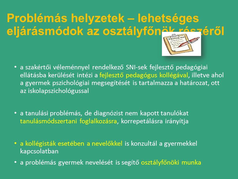Problémás helyzetek – lehetséges eljárásmódok az osztályfőnök részéről a szakértői véleménnyel rendelkező SNI-sek fejlesztő pedagógiai ellátásba kerülését intézi a fejlesztő pedagógus kollégával, illetve ahol a gyermek pszichológiai megsegítését is tartalmazza a határozat, ott az iskolapszichológussal a tanulási problémás, de diagnózist nem kapott tanulókat tanulásmódszertani foglalkozásra, korrepetálásra irányítja a kollégisták esetében a nevelőkkel is konzultál a gyermekkel kapcsolatban a problémás gyermek nevelését is segítő osztályfőnöki munka