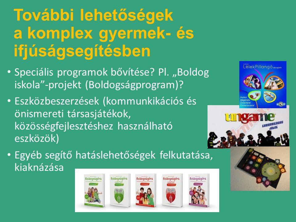 További lehetőségek a komplex gyermek- és ifjúságsegítésben Speciális programok bővítése.