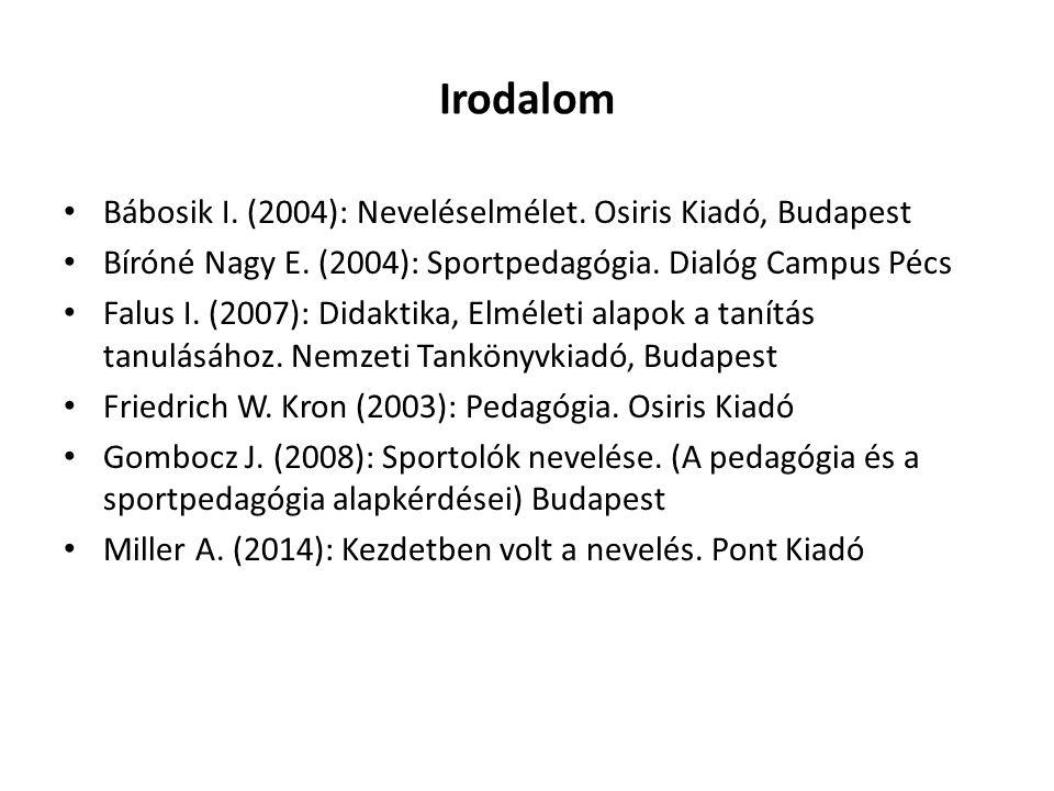Irodalom Bábosik I. (2004): Neveléselmélet. Osiris Kiadó, Budapest Bíróné Nagy E.