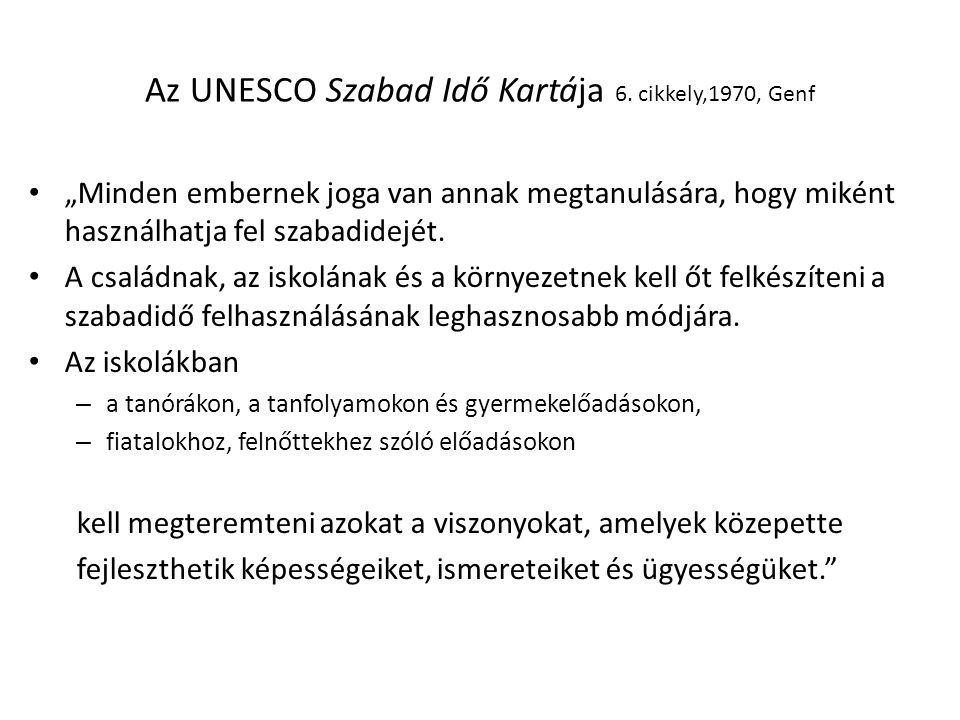 Az UNESCO Szabad Idő Kartája 6.