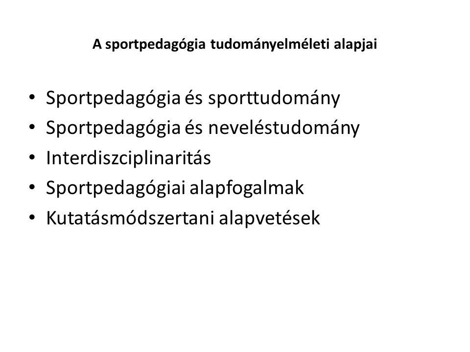 A sportpedagógia tudományelméleti alapjai Sportpedagógia és sporttudomány Sportpedagógia és neveléstudomány Interdiszciplinaritás Sportpedagógiai alapfogalmak Kutatásmódszertani alapvetések