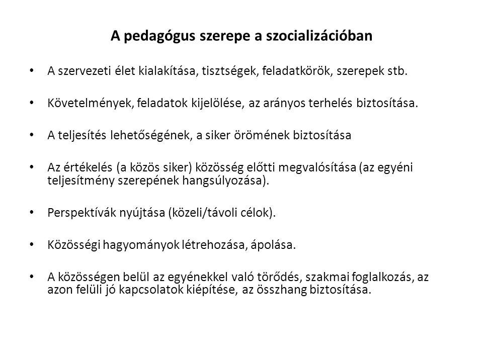 A pedagógus szerepe a szocializációban A szervezeti élet kialakítása, tisztségek, feladatkörök, szerepek stb.