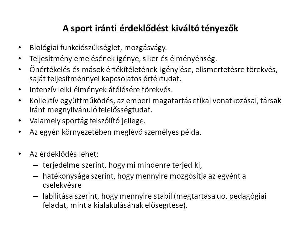A sport iránti érdeklődést kiváltó tényezők Biológiai funkciószükséglet, mozgásvágy.
