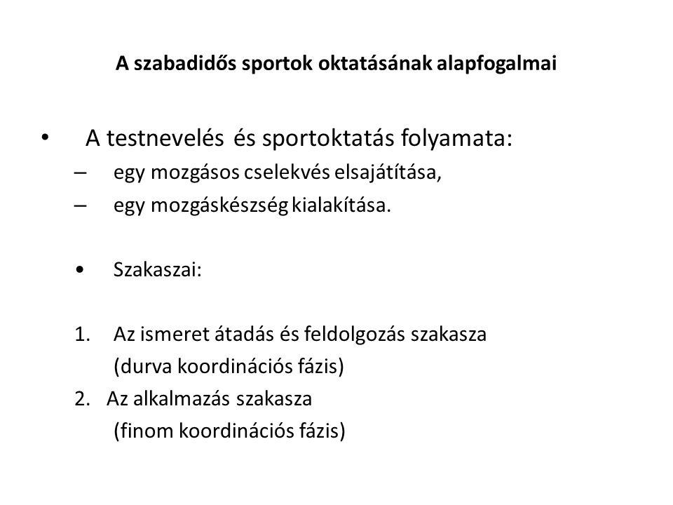 A szabadidős sportok oktatásának alapfogalmai A testnevelés és sportoktatás folyamata: – egy mozgásos cselekvés elsajátítása, – egy mozgáskészség kialakítása.